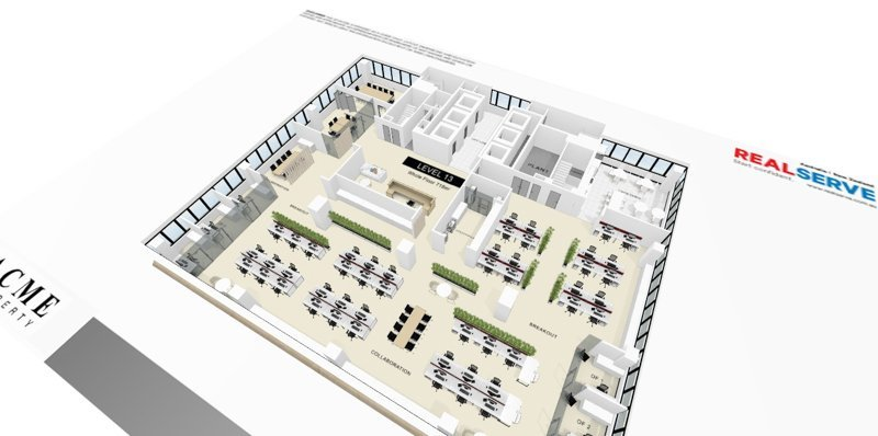 REALSERVE INTERACTIVE FLOOR PLAN WITH 3D SCANNING AND MODELLING SAMPLE OF AN OFFICE