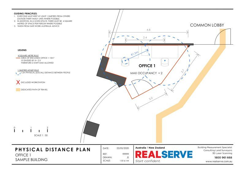 A REALSERVE PHYSICAL DISTANCING PLAN SAMPLE FOR A BUSINESS OFFICE ENVIRONMENT