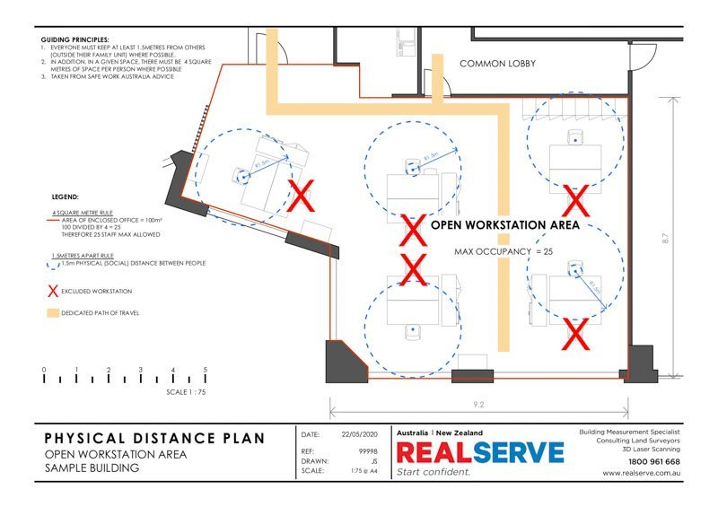 A REALSERVE PHYSICAL DISTANCING PLAN SAMPLE FOR A BUSINESS WORKSTATION ENVIRONMENT