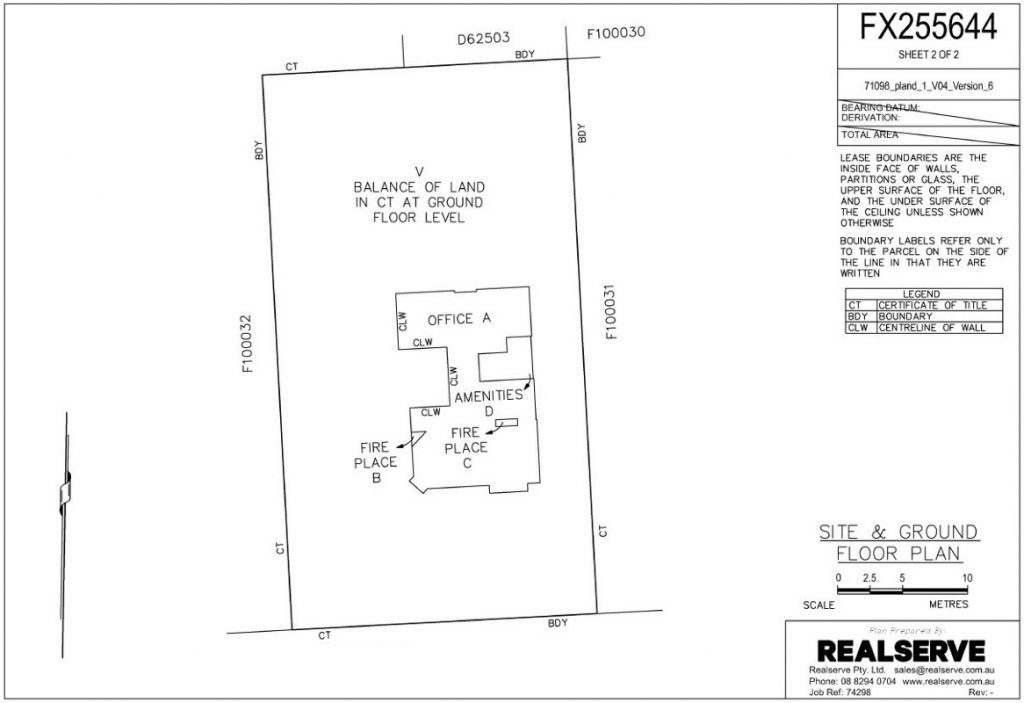 A company that does SA Filed Plans for commercial properties in Adelaide sample site and ground floor plan from Realserve Pty Ltd