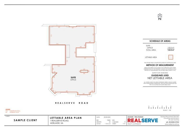 A company that does SA Filed Plans or Lettable Area Plans for commercial properties in Adelaide - a sample office plan from Realserve Pty Ltd