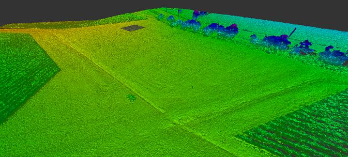 A point cloud created using ground control points with a UAV for a commercial property