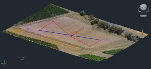 A point cloud created using ground control points with a drone for a winery