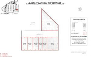 Lettable Area Survey Plan for a storage cage in a commercial building