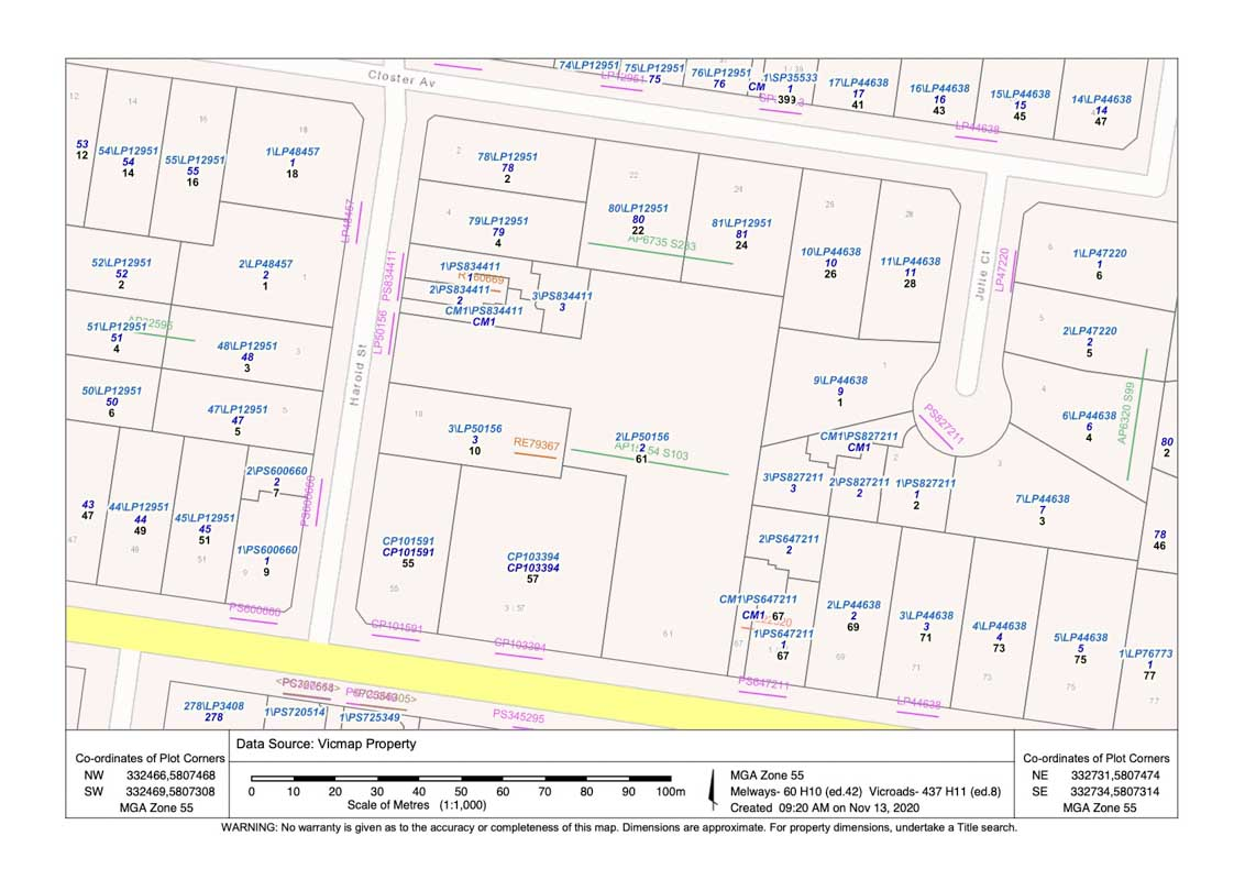 Co Ordinates of Plot Corners Lassi Map for surveying in Victoria