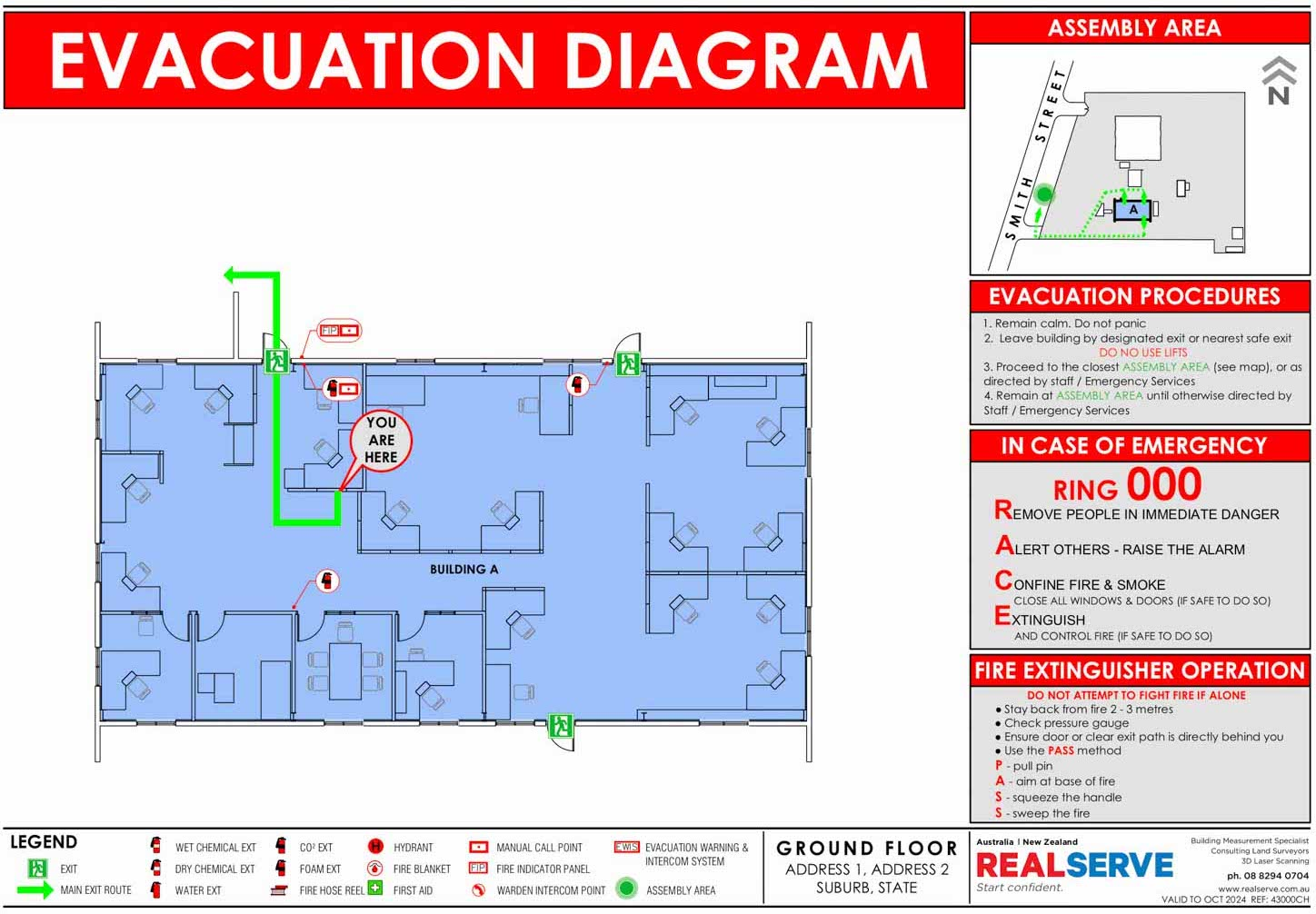 REALSERVE EVACUATION PLAN SAMPLE GROUND FLOOR LEVEL