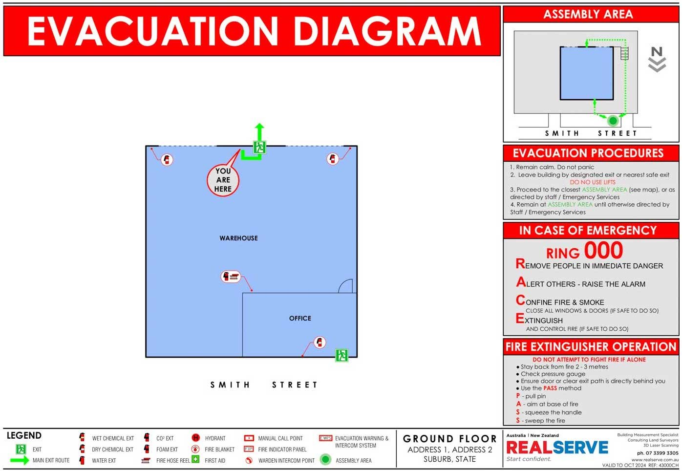 REALSERVE EVACUATION PLAN SAMPLE OF WAREHOUSE BUILDING