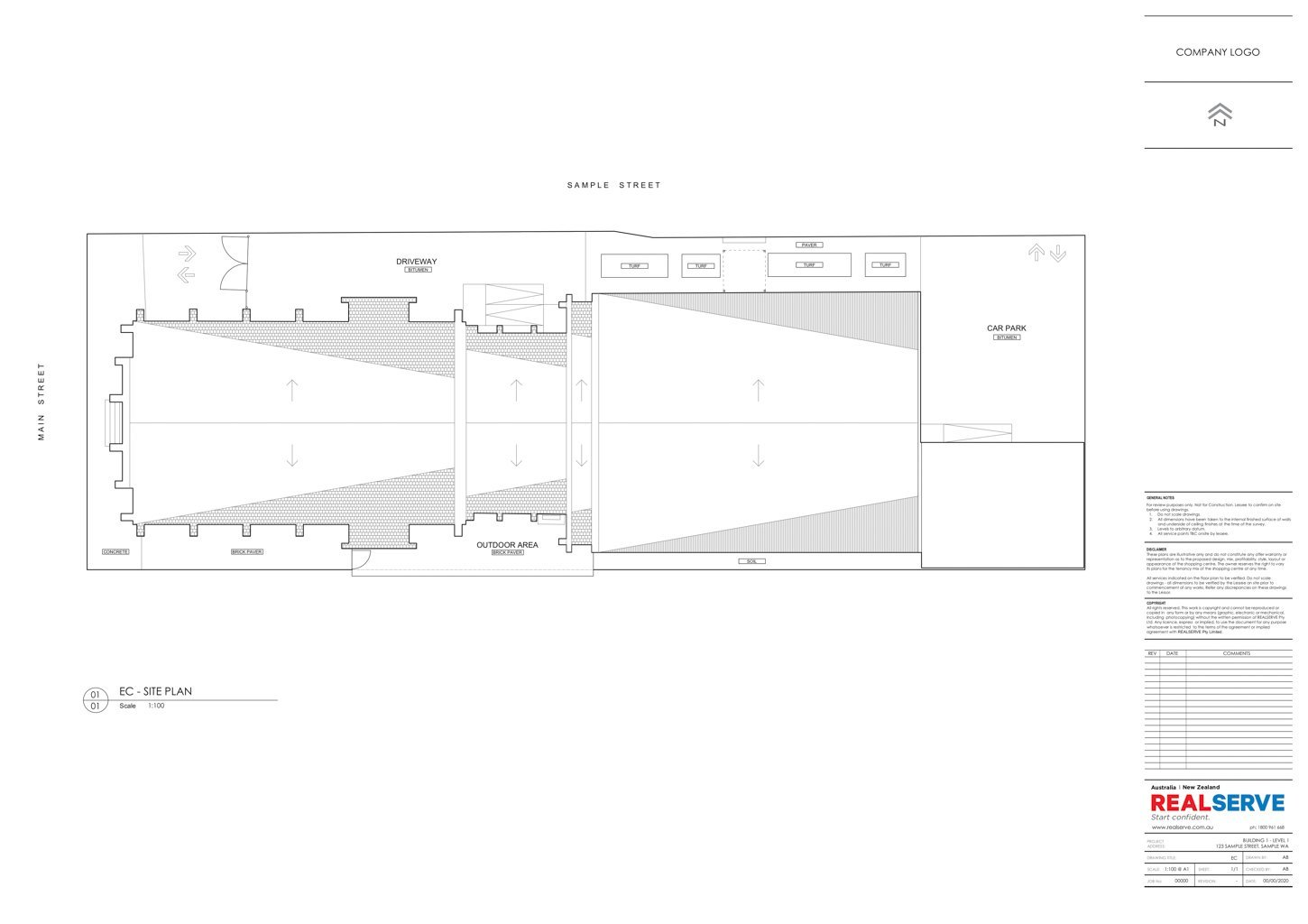 A SAMPLE OF AN EXISTING CONDITIONS SITE PLAN FOR A COMMERCIAL PROPERTY BY REALSERVE