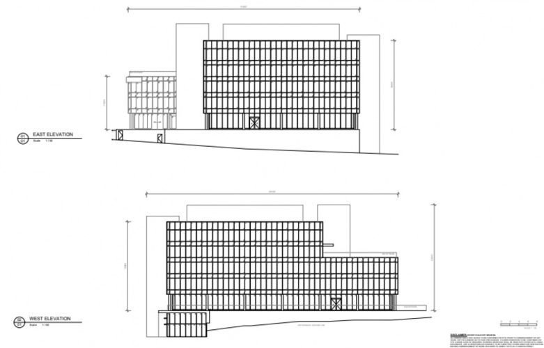 REALSERVE EXISTING CONDITION PLAN FOR A COMMERCIAL PROPERTY WITH AN ELEVATION SURVEY OF FACADE CLADDING