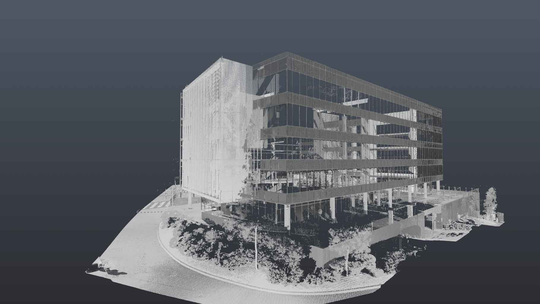 A SAMPLE OF A 3D SCAN FOR AN EXTERNAL ELEVATION DRAWING BY REALSERVE OF A BUILDING
