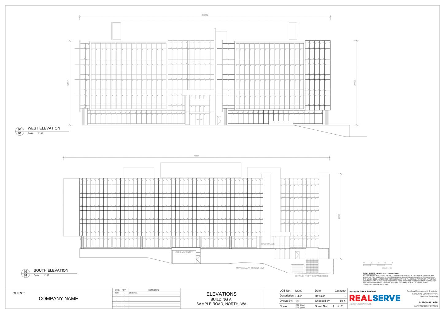 A SAMPLE OF A FACADE ELEVATIONS PLAN BY REALSERVE OF A BUILDING