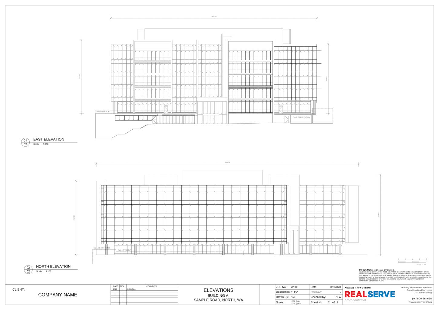 A SAMPLE OF A FACADE ELEVATIONS PLAN BY REALSERVE OF A PROPERTY