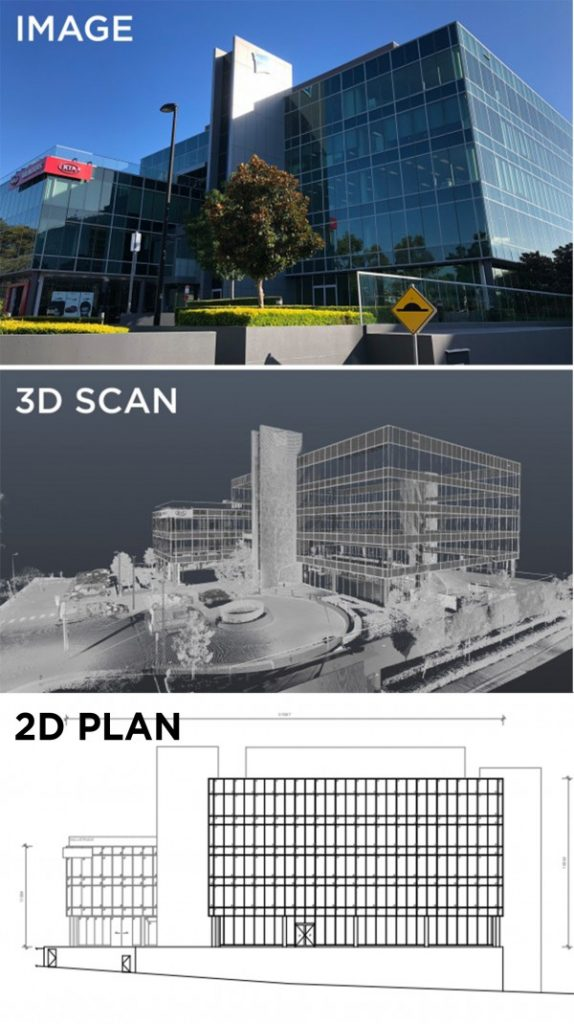 REALSERVE EXAMPLE OF 2D DRAWING & 3D SCAN FOR EXISTING CONDITIONS PLAN OF A COMMERCIAL BUILDING