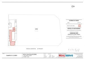 Gross Floor Area Surveying Company Example plan made by Realserve Pty Ltd of a commercial building top floor area