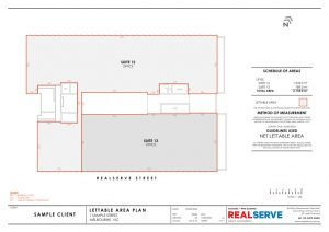 Lettable Area Plan & IPMS Sample from Realserve property surveying company in Australia of a commercial building