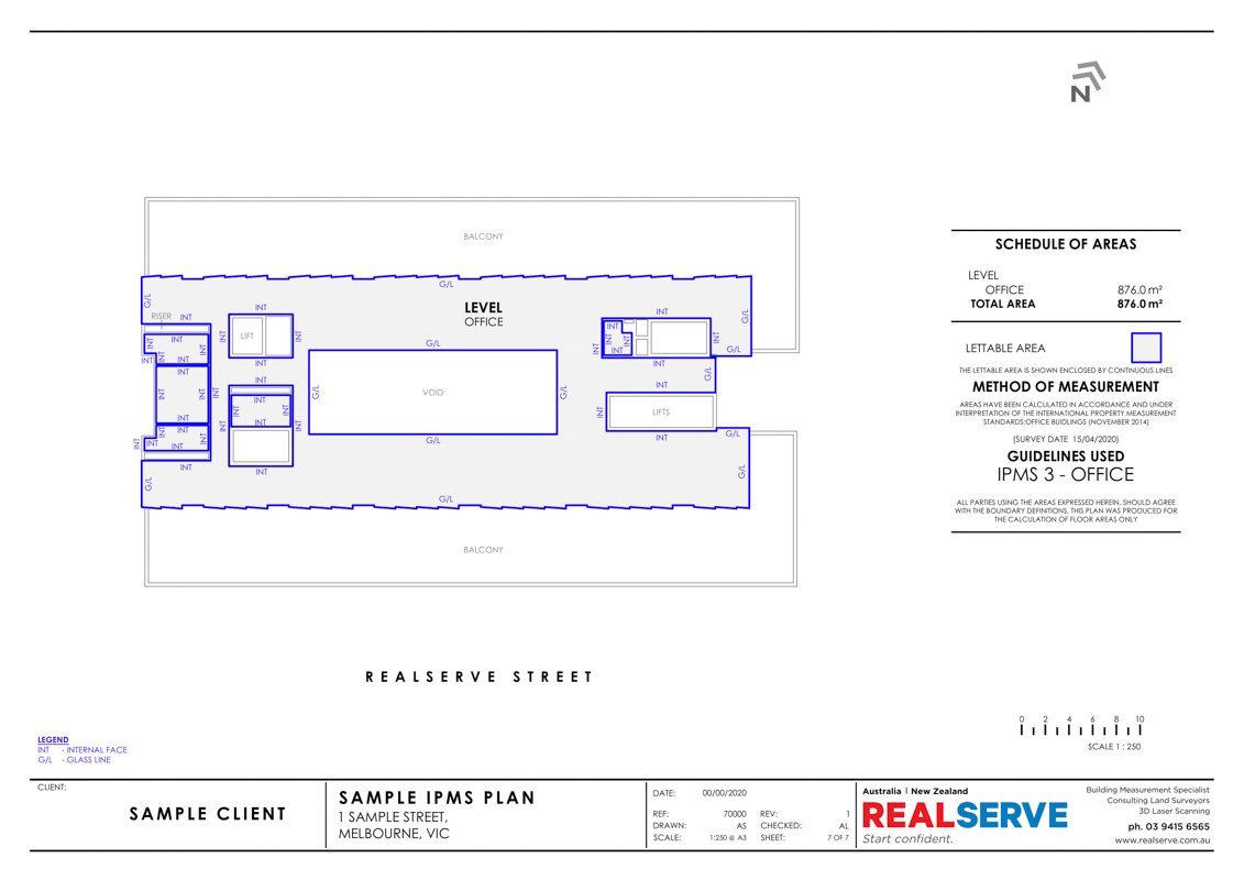 Lettable Area Plan & IPMS Sample from Realserve property surveying company in Australia of a commercial property with retail and office space