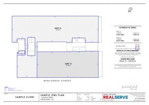 Lettable Area Plan & IPMS Sample from Realserve property surveying company in Australia of an office building