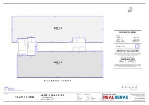 Lettable Area Plan & IPMS Sample from Realserve property surveying company in Australia of commercial property