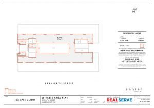 Lettable Area Plan & IPMS Sample from Realserve property surveying company in Australia pf a commercial office space