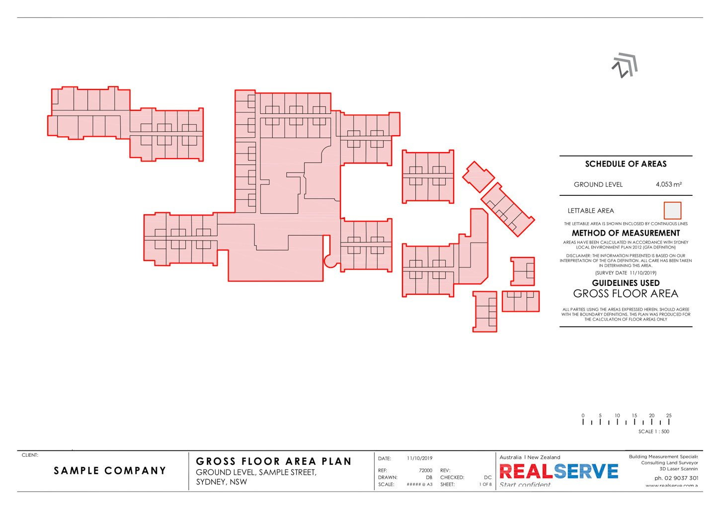REALSERVE GROSS FLOOR AREA SURVEY SAMPLE OF A BUILDING SECTIONS