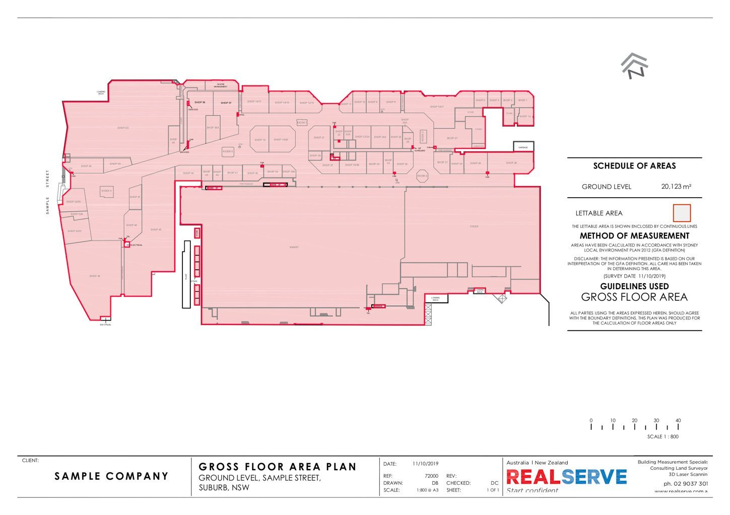 REALSERVE GROSS FLOOR AREA SURVEY SAMPLE OF A COMMERCIAL BUILDING SPACE
