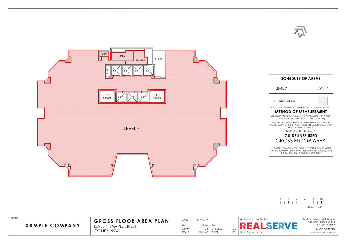 REALSERVE GROSS FLOOR AREA SURVEY SAMPLE OF A COMMERCIAL BUILDING