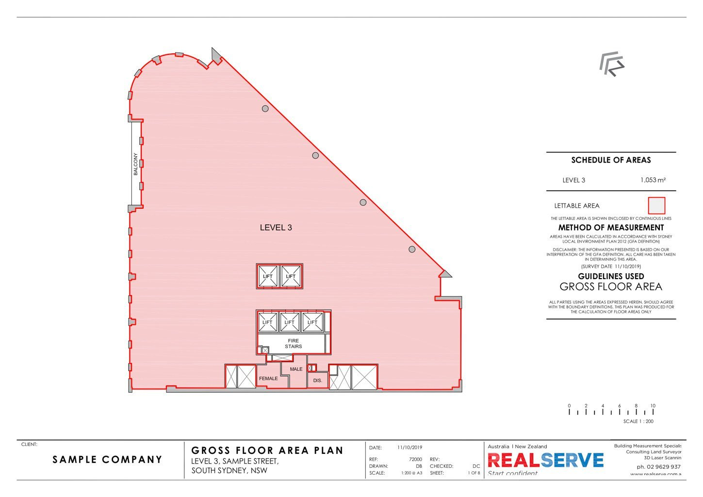 REALSERVE GROSS FLOOR AREA SURVEY SAMPLE OF A COMMERCIAL PROPERTY