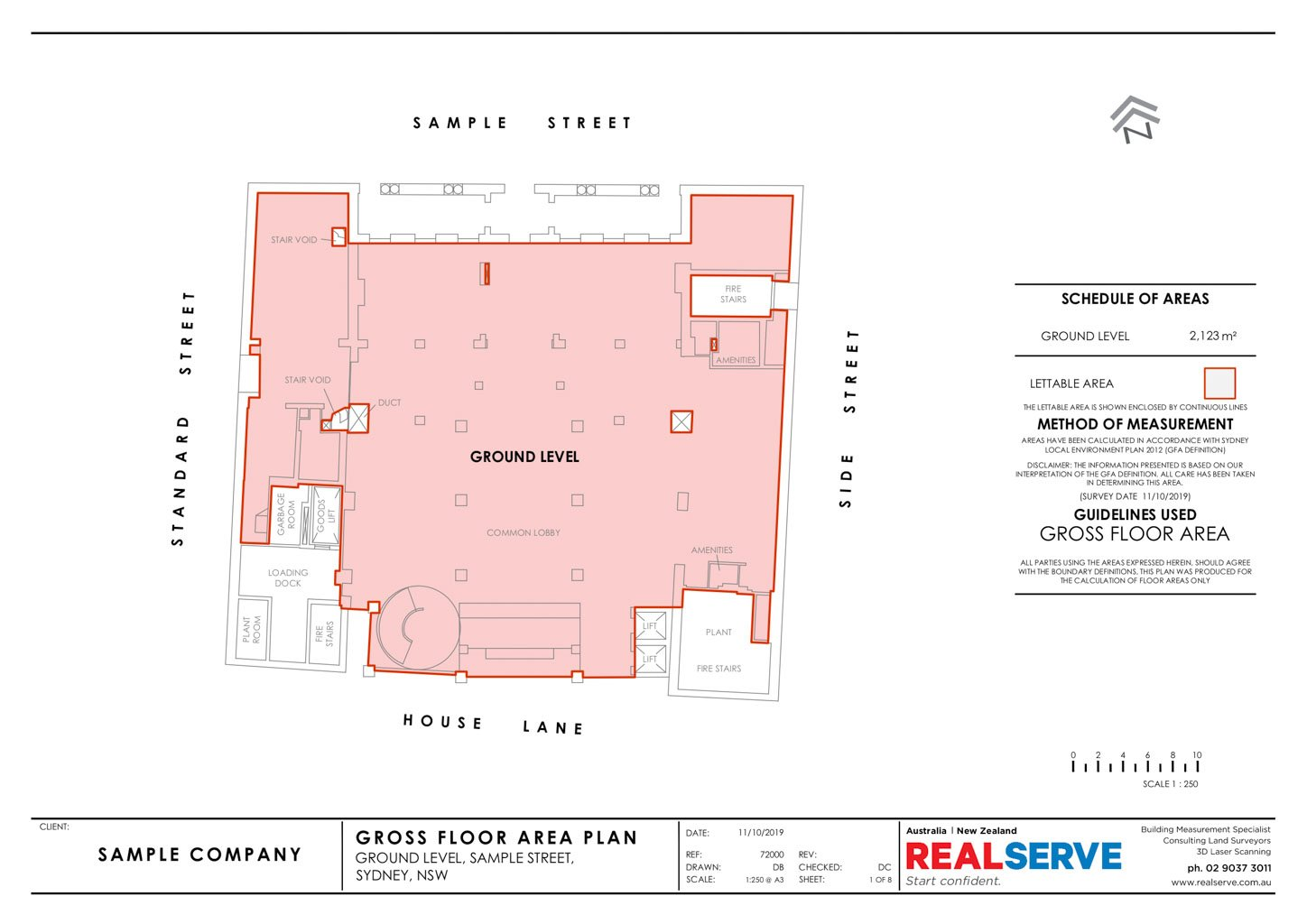 REALSERVE GROSS FLOOR AREA SURVEY SAMPLE OF A GROUND FLOOR COMMERCIAL PROPERTY