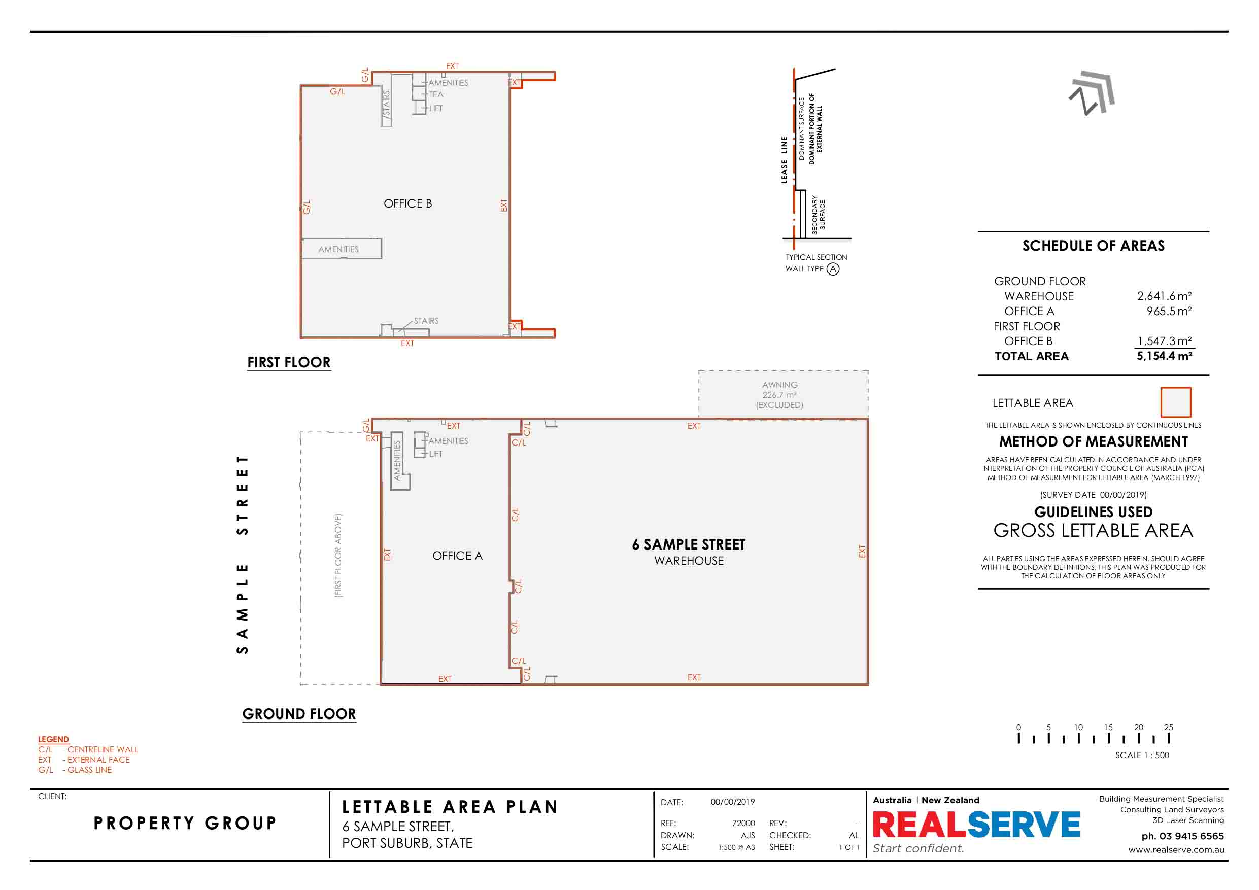 REALSERVE GROSS LETTABLE AREA SURVEY SAMPLE OF A COMMERCIAL OFFICE AND WAREHOUSE
