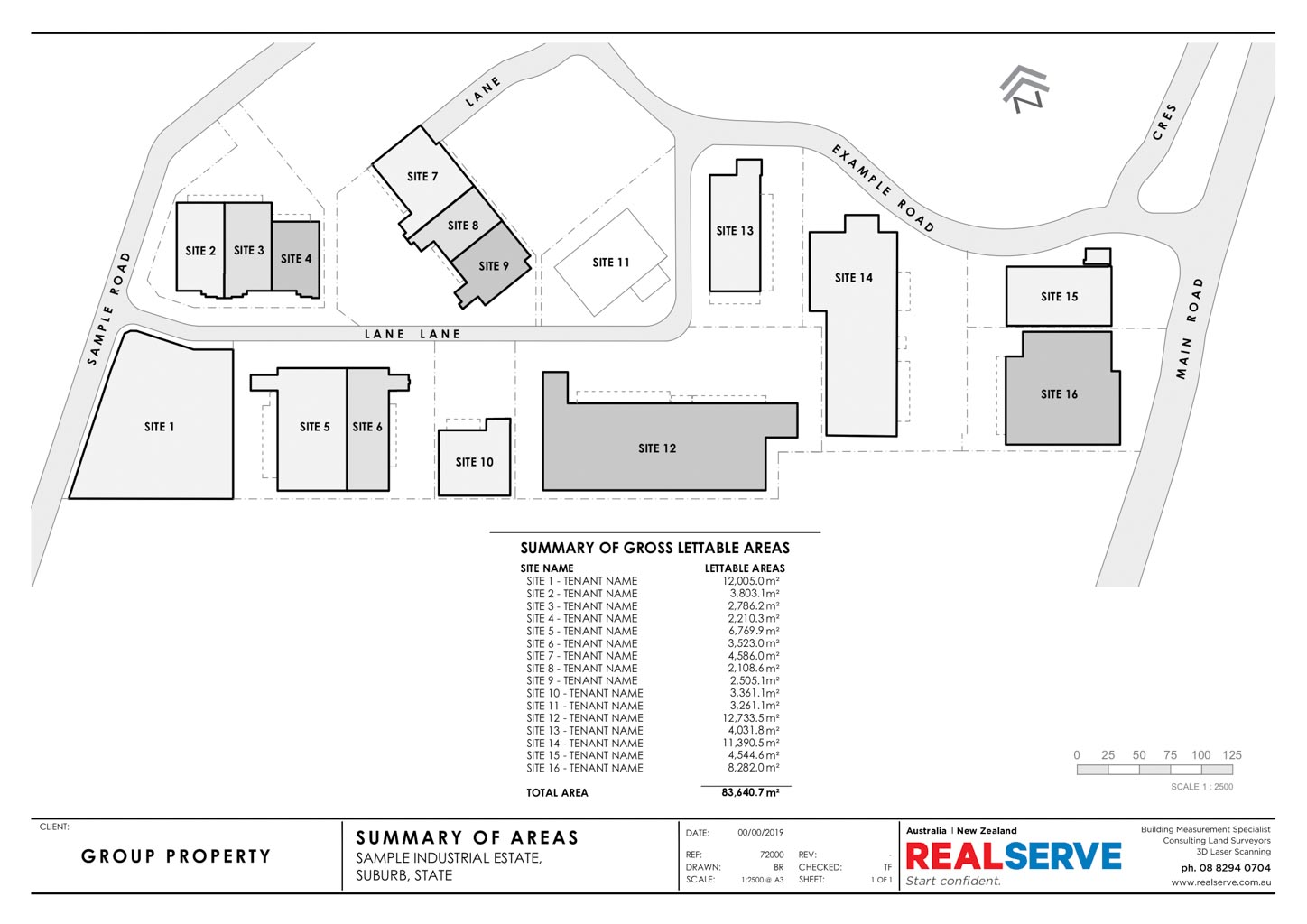 REALSERVE GROSS LETTABLE AREA SURVEY SAMPLE OF A PROPERTY
