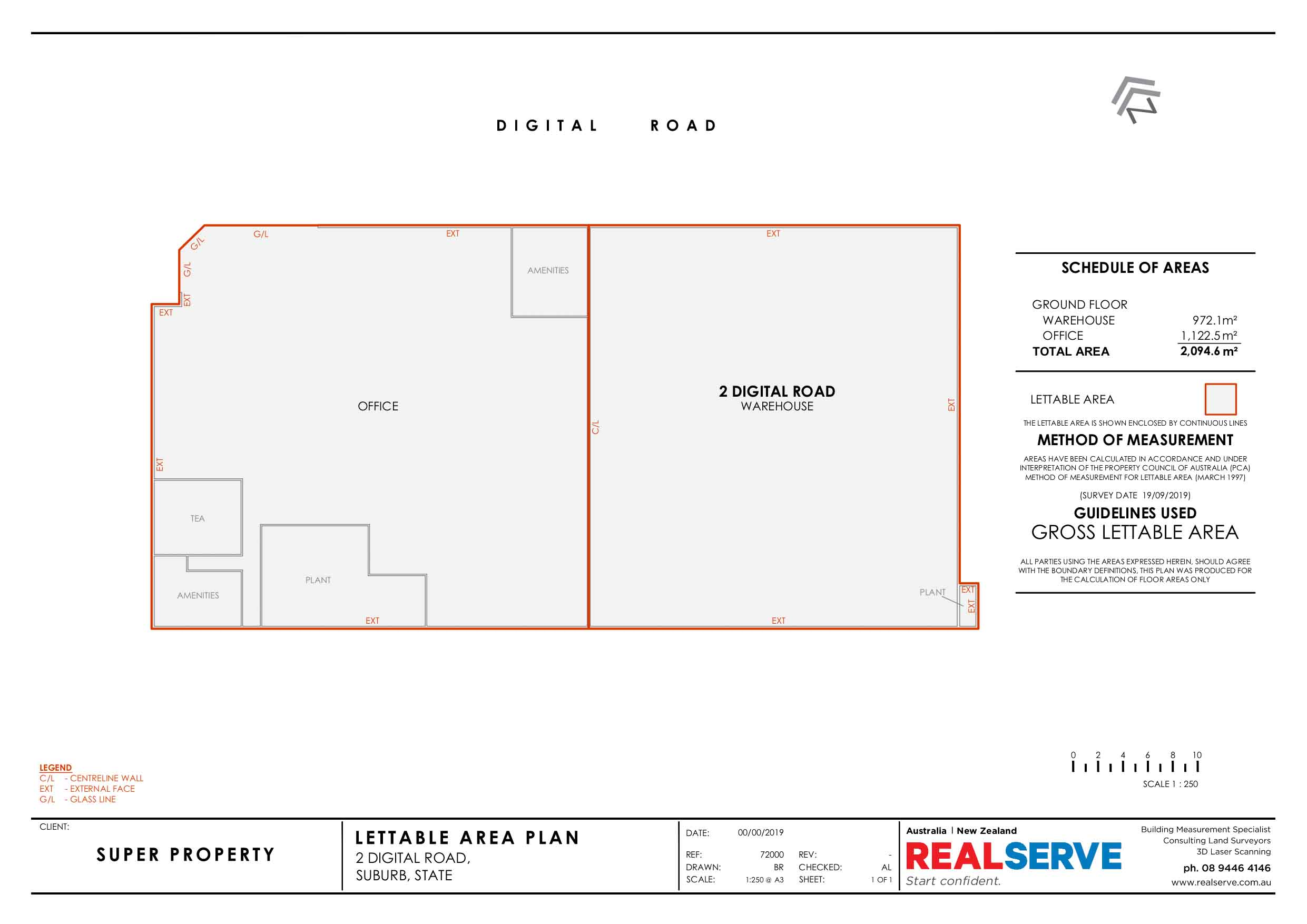 REALSERVE GROSS LETTABLE AREA SURVEY SAMPLE OF AN OFFICE AND WAREHOUSE