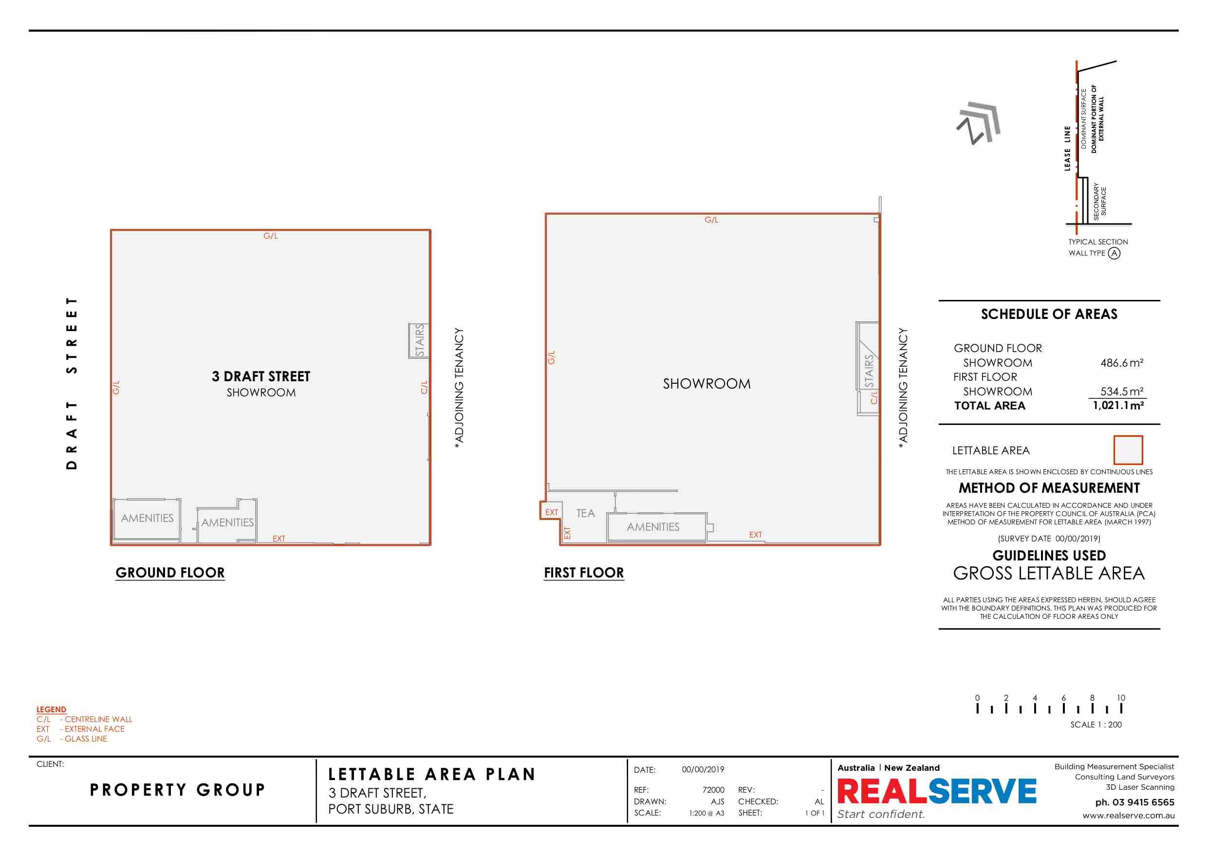 REALSERVE GROSS LETTABLE AREA SURVEY SAMPLE OF TWO SHOWROOMS