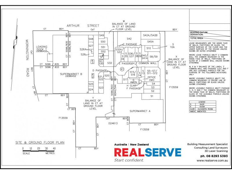 REALSERVE LEASING SURVEY SA FILED PLAN SAMPLE OF A RETAIL TENANCY