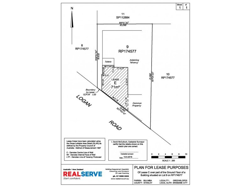 REALSERVE LEASING SURVEY SAMPLE OF A QUEENSLAND LEASE PLAN FOR A COMMERCIAL PROPERTY