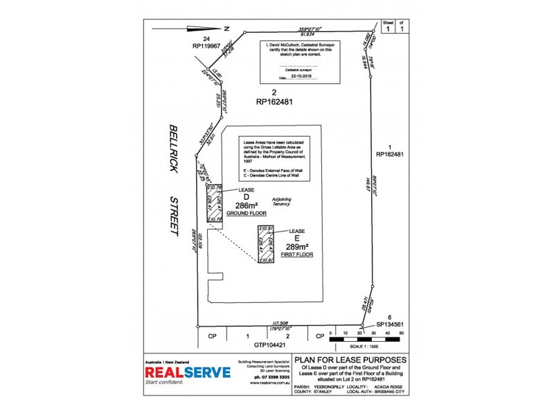 REALSERVE LEASING SURVEY SAMPLE OF A QUEENSLAND LEASE PLAN FOR A RETAIL SITE