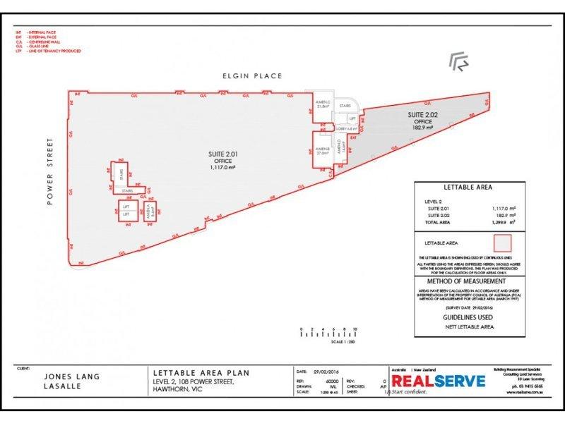 REALSERVE LETTABLE AREA SURVEY PLAN SAMPLE OF A RETAIL PROPERTY