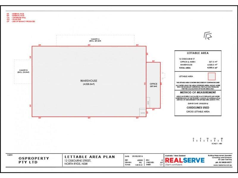 REALSERVE LETTABLE AREA SURVEY PLAN SAMPLE OF A RETAIL STORE AREA