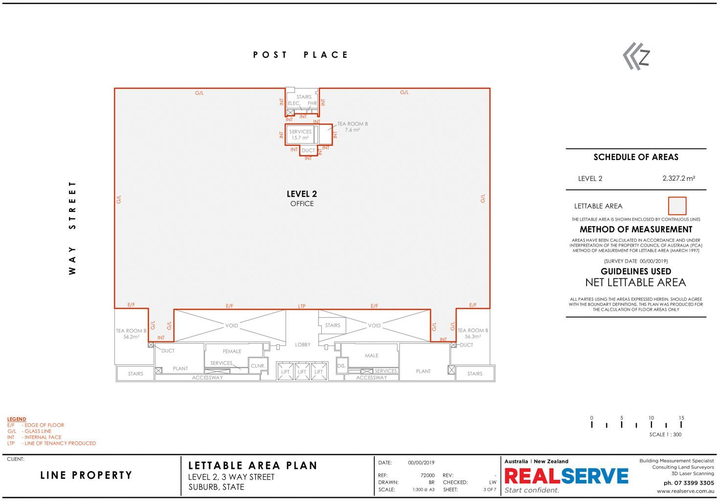 REALSERVE NET LETTABLE AREA SAMPLE DRAWING FOR A BUILDING AREA