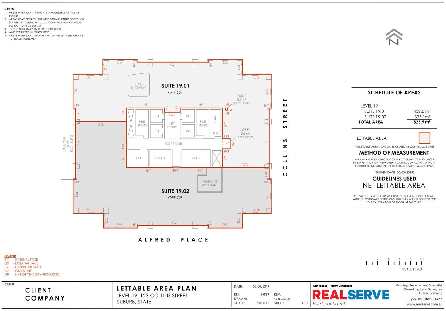 REALSERVE NET LETTABLE AREA SAMPLE DRAWING FOR A BUILDING SPACE