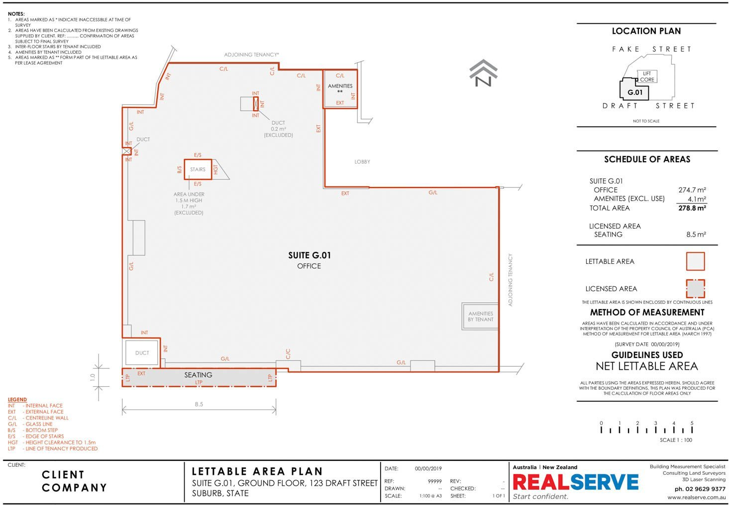 REALSERVE NET LETTABLE AREA SAMPLE DRAWING FOR A COMMERCIAL BUILDING