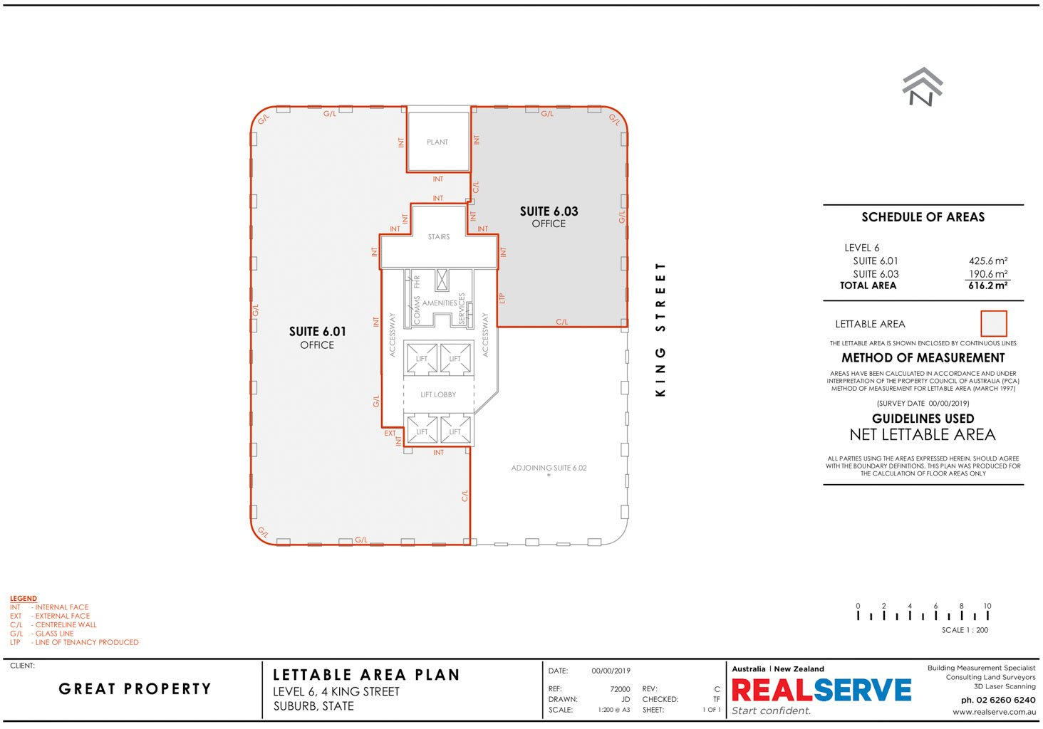 REALSERVE NET LETTABLE AREA SAMPLE DRAWING FOR A OFFICE AREA