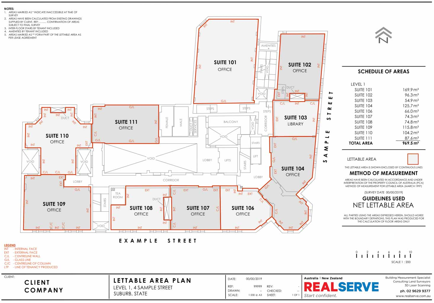 REALSERVE NET LETTABLE AREA SAMPLE DRAWING FOR OFFICES