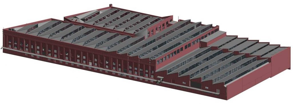 REALSERVE 3D SCANNING REVIT MODEL EXAMPLE OF AN INDUSTRIAL BUILDING