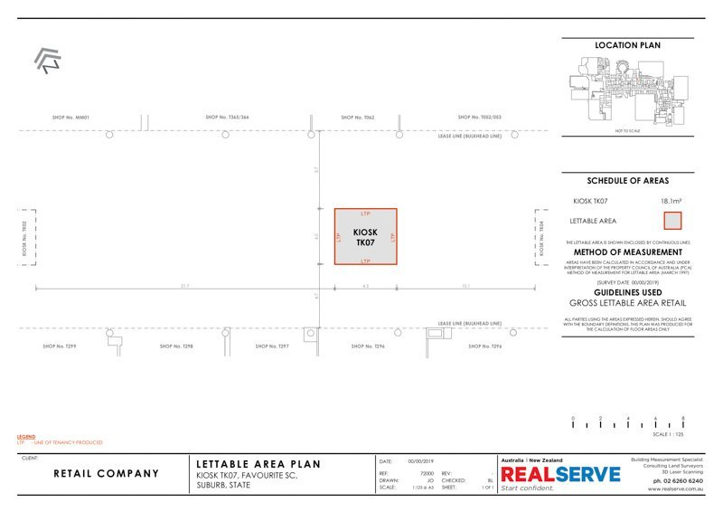 REALSERVE GROSS LETTABLE AREA PLAN SURVEY SAMPLE OF A RETAIL KIOSK