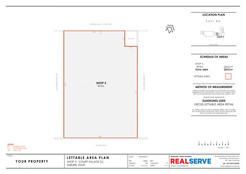REALSERVE GROSS LETTABLE AREA PLAN SURVEY SAMPLE OF A RETAIL SHOP FLOOR