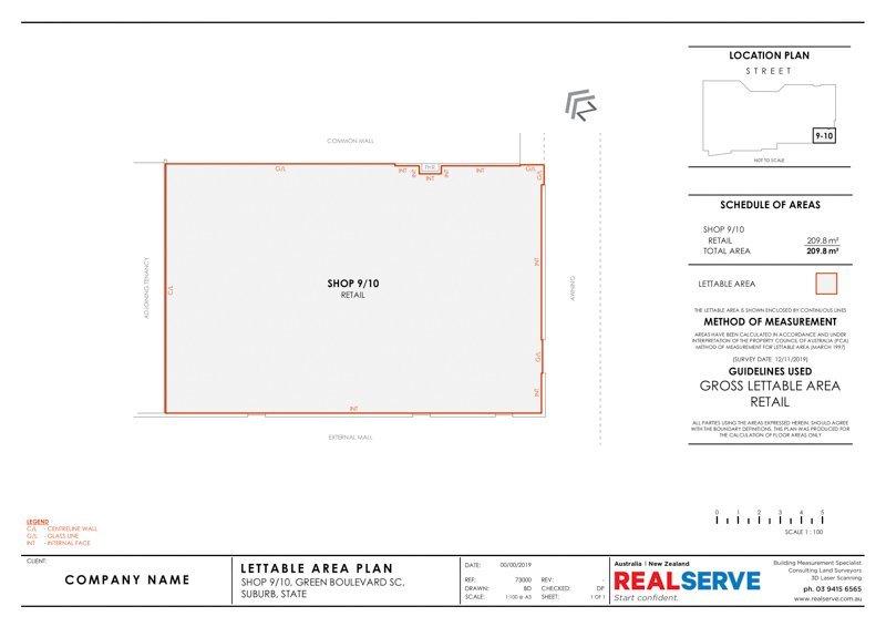 REALSERVE GROSS LETTABLE AREA PLAN SURVEY SAMPLE OF A RETAIL SHOP