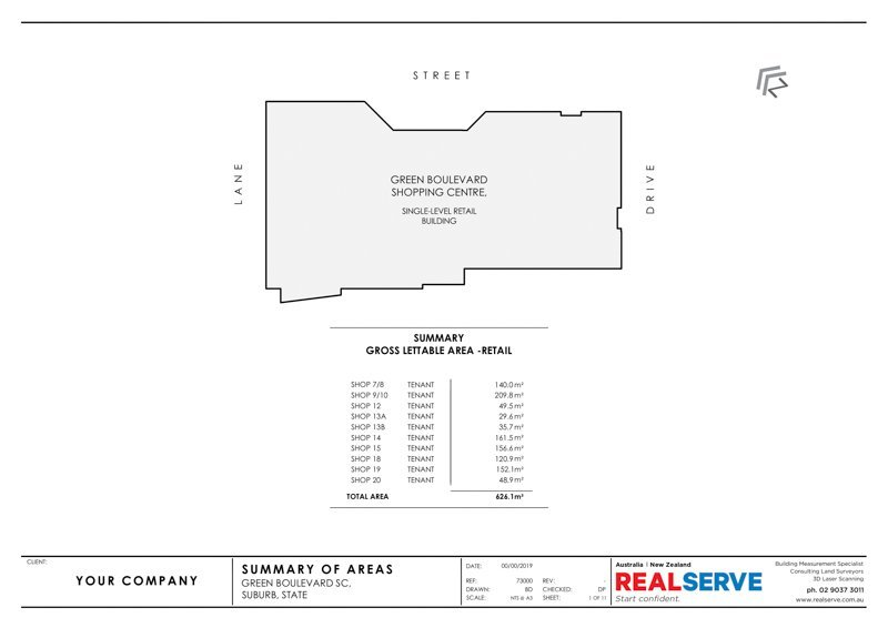 REALSERVE GROSS LETTABLE AREA PLAN SURVEY SAMPLE OF A RETAIL SHOPPING CENTRE