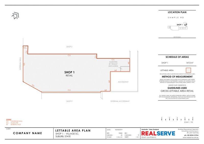 REALSERVE GROSS LETTABLE AREA PLAN SURVEY SAMPLE OF A RETAIL STORE