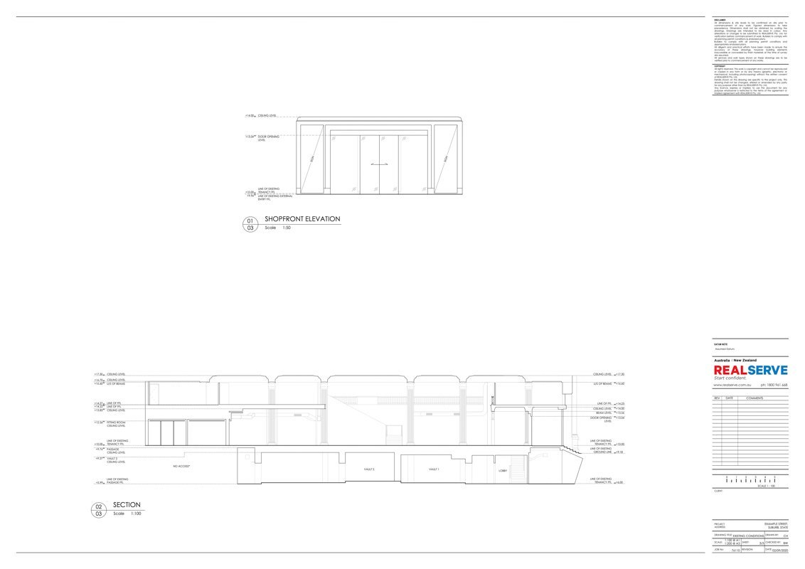 REALSERVE SURVEYOR FOR AS BUILT RETAIL TENANCY SHOPFRONT AND SECTION SURVEY DRAWING FOR A STORE