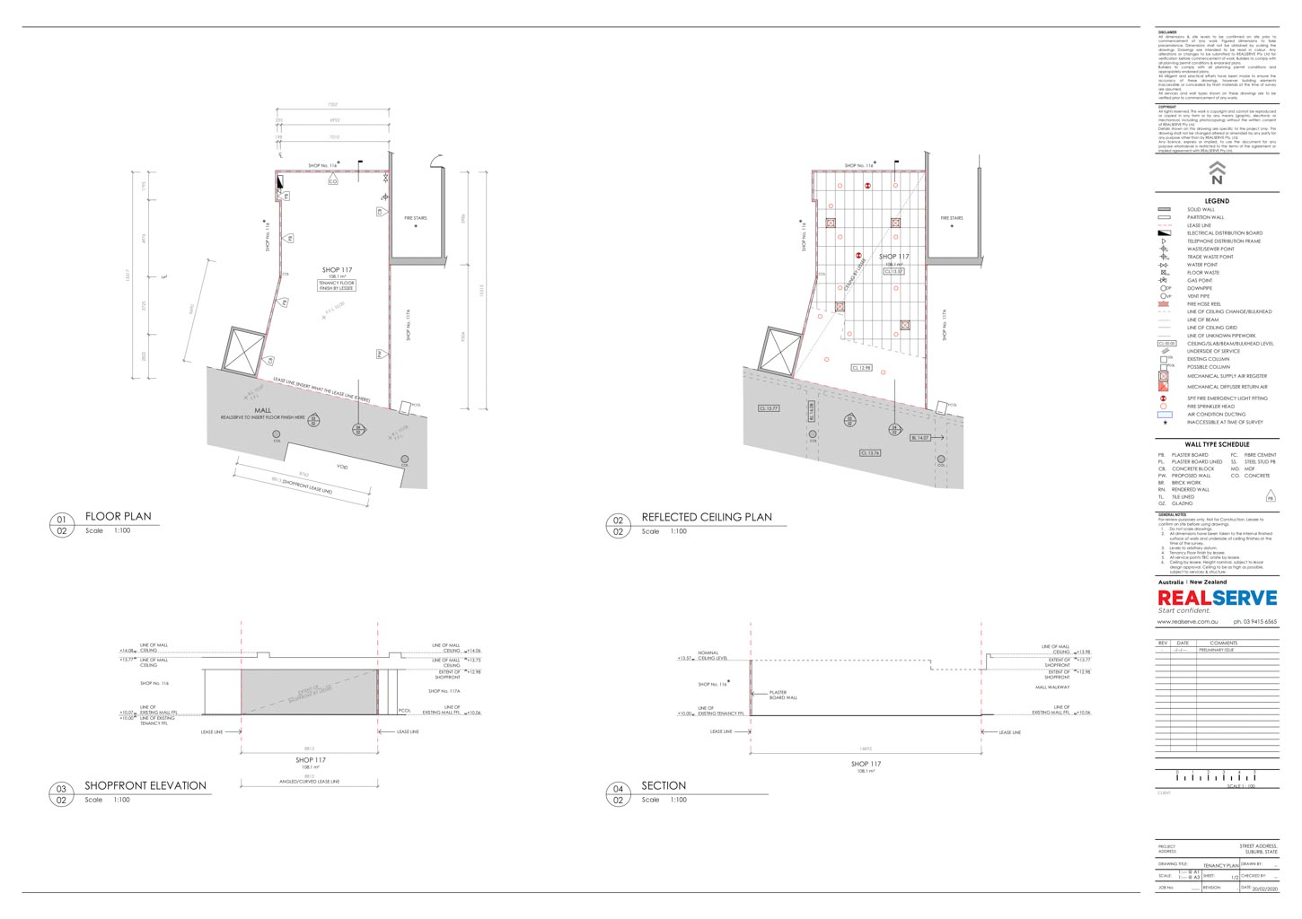 REALSERVE GENERAL TENANCY PLAN WITH REFLECTED CEILING PLAN SAMPLE